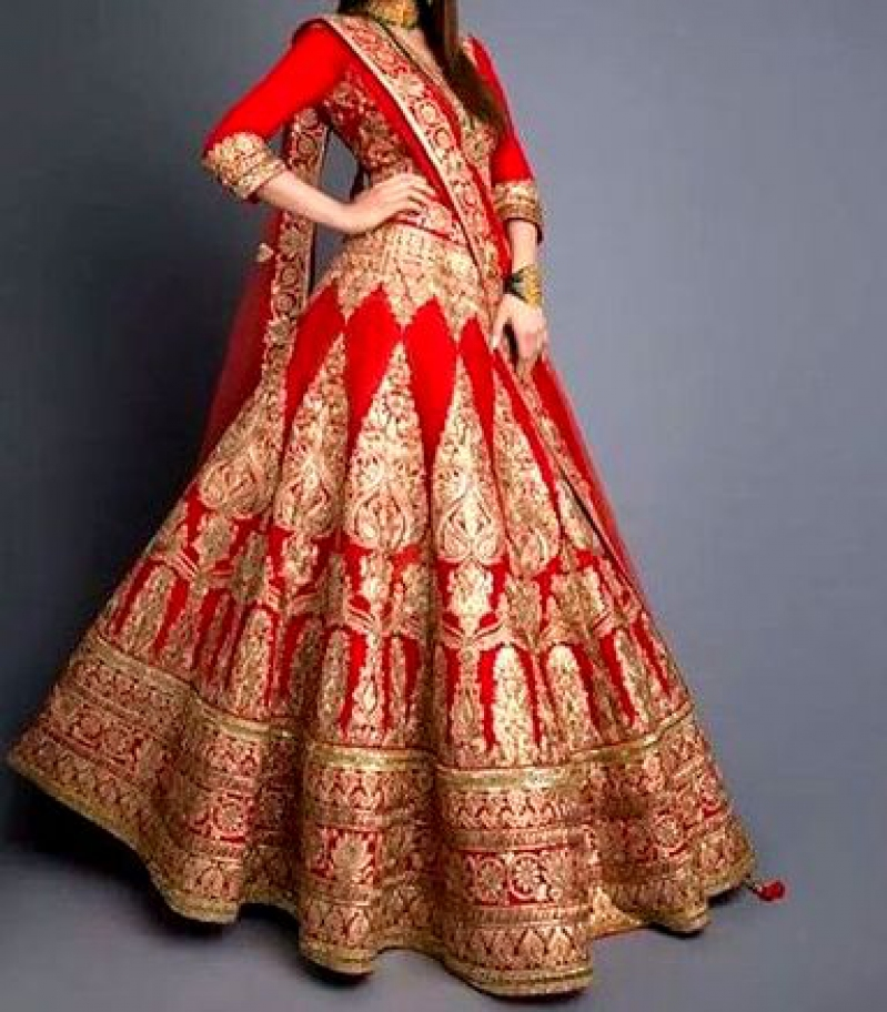 Bridal lehenga maroon and golden