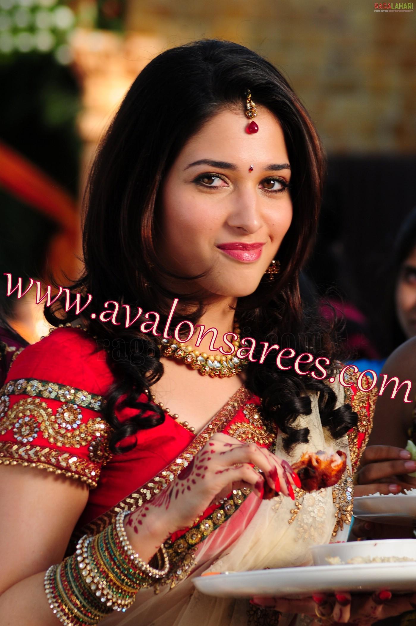 Tamanna Red Jewel Celebrity Sarees