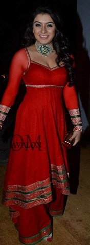 hansika hot red celebrity suits