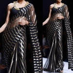 Black zebra saree