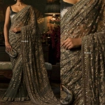 Grey metalica saree