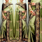 Grand Green Rose Saree
